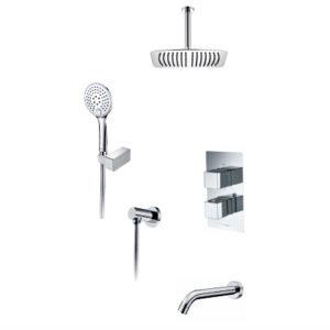 Встраиваемый комплект для ванны с верхней душевой насадкой, лейкой и изливом WasserKRAFT А171568 Thermo