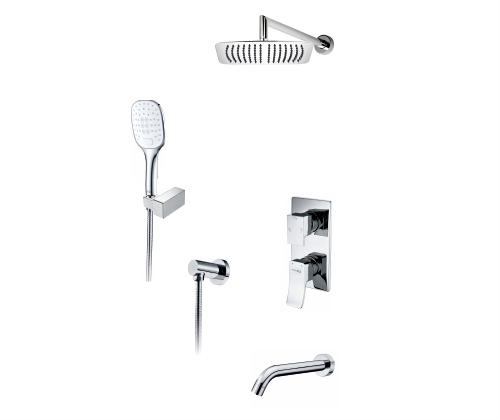 Встраиваемый комплект для ванны с верхней душевой насадкой, лейкой и изливом WasserKRAFT А171619