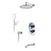 Встраиваемый комплект для ванны с верхней душевой насадкой, лейкой и изливом WasserKRAFT А174819 Thermo