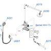 Встраиваемый комплект для ванны с верхней душевой насадкой, лейкой и изливом WasserKRAFT А174819 Thermo 24665
