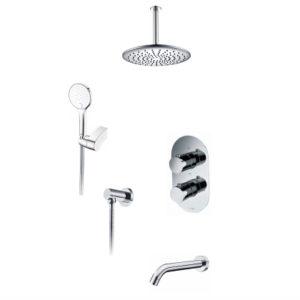 Встраиваемый комплект для ванны с верхней душевой насадкой, лейкой и изливом WasserKRAFT А174868 Thermo