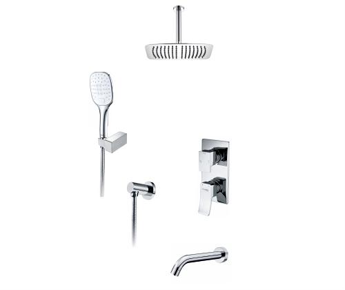 Встраиваемый комплект для ванны с верхней душевой насадкой лейкой и изливом WasserKRAFT А171668 24676