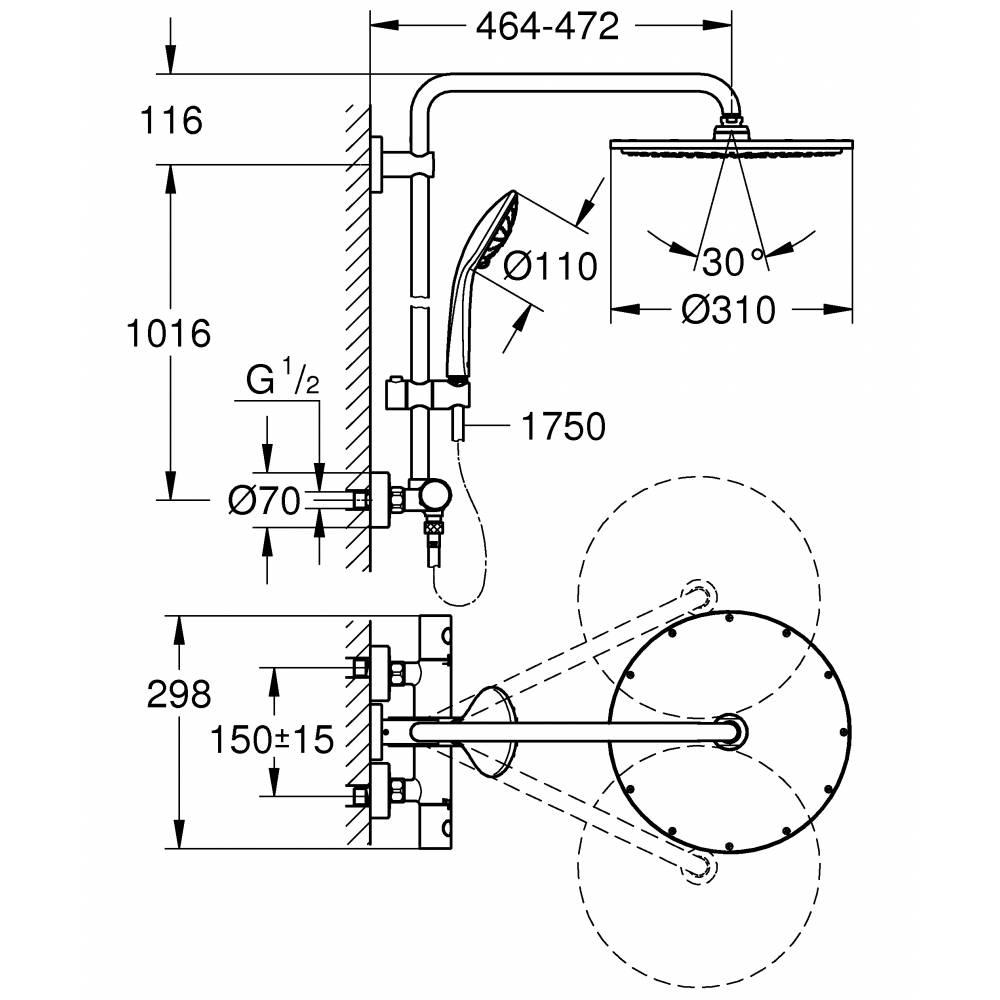 Душевая система GROHE Euphoria XXL 310 с термостатом тёмный графит матовый 26075AL0 26312